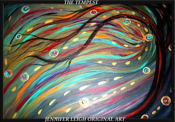 The Tempest......Original Large Abstract Painting Modern Contemporary Canvas Art Black, Turquoise Red Tree Oil by J.LEIGH