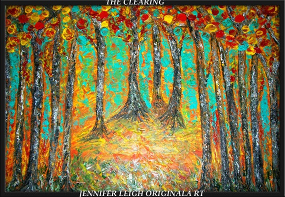 THE CLEARING.... Original Large Abstract Painting Modern Contemporary Canvas Art  Blue Red Orange Yellow Birch Trees Texture Oil  J.LEIGH