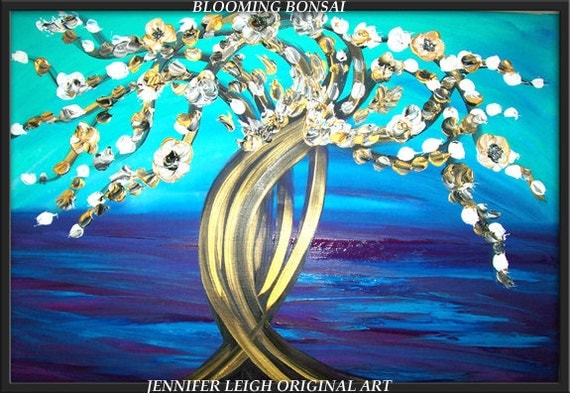 Original  Large Abstract Painting Modern Contemporary Asia Canvas Art 36x24 Blue White Gold BONSAI Tree Texture Oil  J.LEIGH