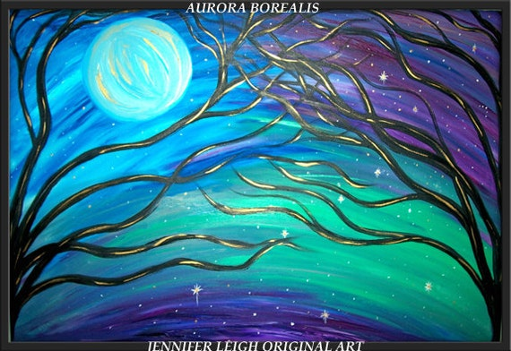 "Original Large Abstract Painting Modern Contemporary Canvas Art 36x24 Blue Moon Purple Green Trees ""AURORA BOREALIS"" Texture Oil  J.LEIGH"