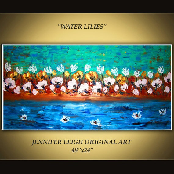 """Original Large Abstract Painting Modern Contemporary Canvas Art Blue Rust Gold White """"WATER LILIES"""" 48x24 Texture Oil J.LEIGH"""