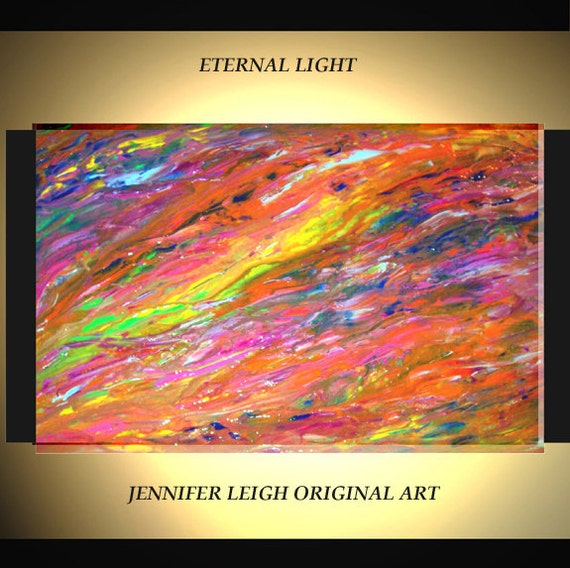 """Original Large Abstract Painting Modern Contemporary Canvas Art Yellow Orange Red Blue """"Eternal Light"""" Oil 36x24 Texture by J.LEIGH"""