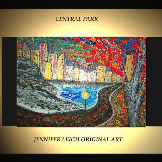 """Original Large Abstract Painting Modern Contemporary Canvas Art Blue Skyline """"Central Park"""" Palette Knife Texture Oil J.LEIGH"""