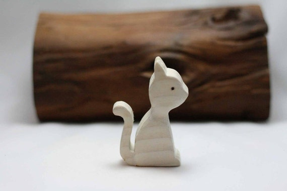 White Kitty Cat Wooden Toy - Nature Table - Waldorf Animal