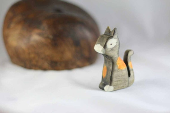 Calico Kitty Cat Wooden Toy - Nature Table - Waldorf Animal