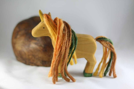 RESERVED for Heidi  Autumn Unicorn Wooden Toy - Nature Table - Waldorf Animal