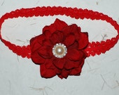 Red Flowers with a Red Lace Headband