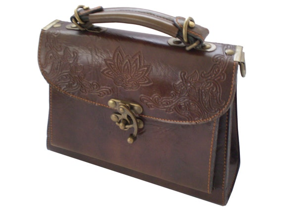 HALF PRICE SALE - Dark Brown Leather 1970's Satchel Bag