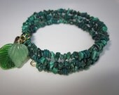 Malachite Memory Wire Bracelet, handcrafted green with leaves