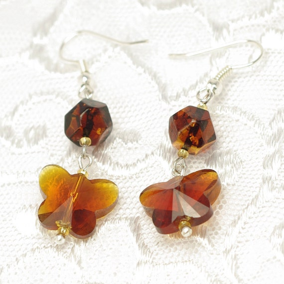 Original baltic amber and crystal butterfly earrings 605