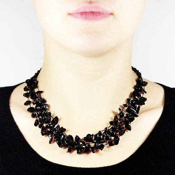 Baltic Amber Necklace. Black Beads. Luxurious-Looking