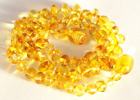 Baltic Amber Necklace Baby Teething. Sunny color 115