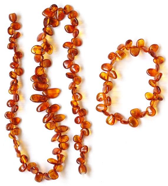 Cognac Baltic amber Autumn Leaves  necklace and bracelet 535