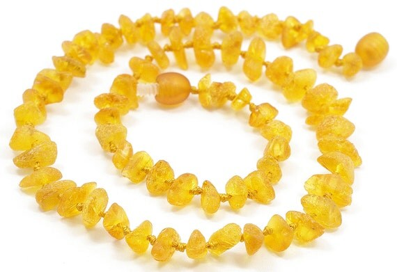 Raw Unpolished Baltic amber baby teething necklace. Honey color amber beads 133