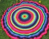 Beautiful  crochet  rainbow picnic blanket / throw