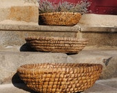 Large antique vintage French rustic country basket - all natural coiled straw