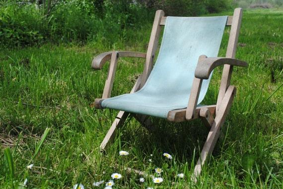 Vintage French child's folding wooden picnic garden or beach chair - green canvas deckchair