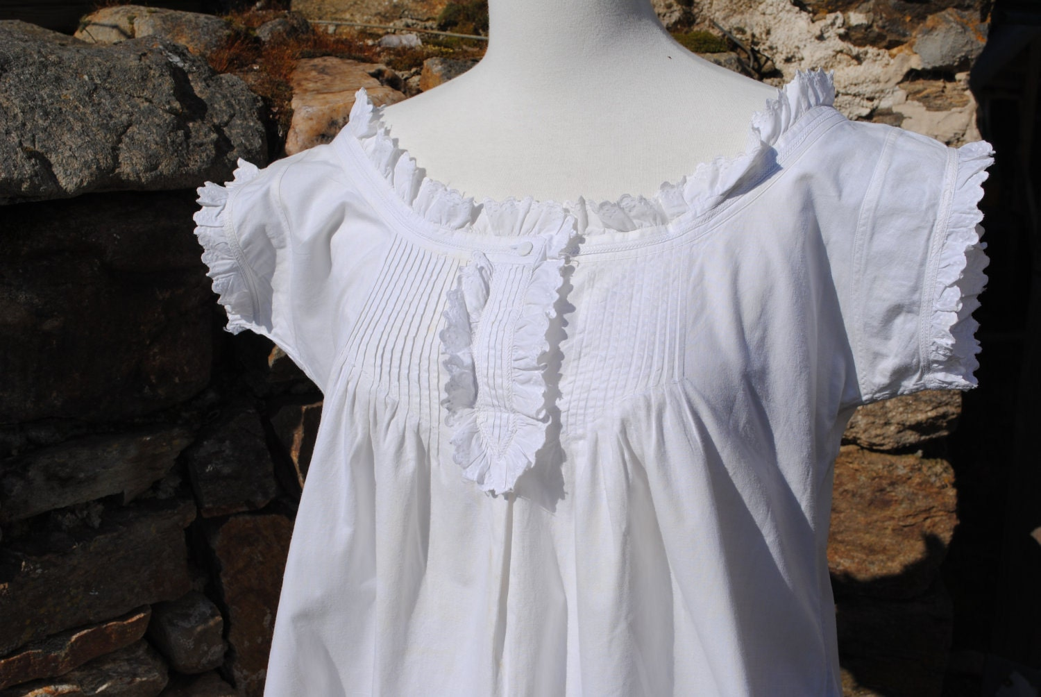 Antique Victorian Edwardian Cotton Nightgown Or Nightdress