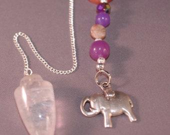 Dowsing Pendulum Quartz Crystal Lucky Elephant Gemstone New Age  Magick OOAK Pagan Witchy Wicca 124838P