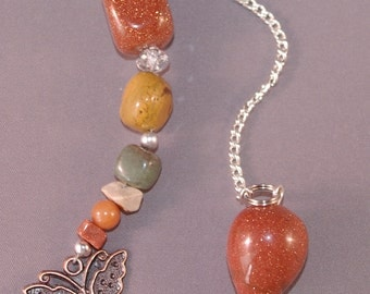 Goldstone and Butterfly New Age Dowsing Pendulum 124823P