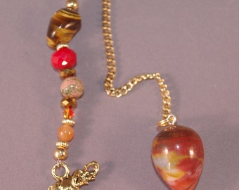 Red Jasper and Lucky Elephant New Age Dowsing Pendulum 124815P