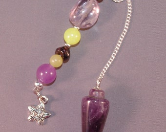 Amethyst and Star New Age Dowsing Pendulum 124841P