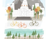 Boise art print illustration - 8x10 - city poster idaho