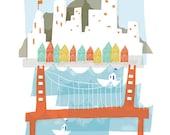 San Francisco art print illustration - 11x14 - city poster california