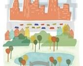 New York City art print illustration - 11x14 - NYC NY New York downtown skyline city poster wall decor