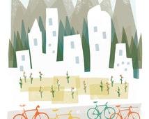 Denver art print illustration - 11x14 - mountain city buildings poster wall decor