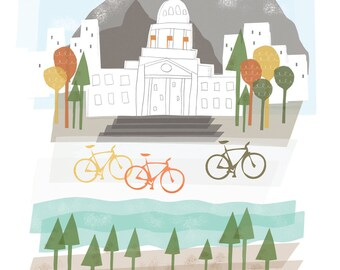 Boise art print illustration - 8x10 - city poster idaho