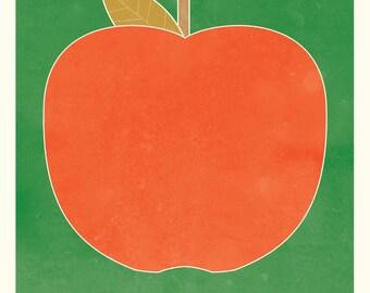 apple art print illustration - green and red - kitchen art