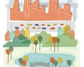 New York City art print illustration - 8x10 - NYC NY New York downtown skyline city poster wall decor