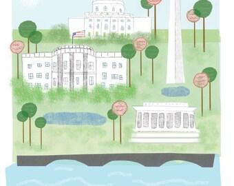 Washington DC art print illustration - 11x14 print - white house art wall decor