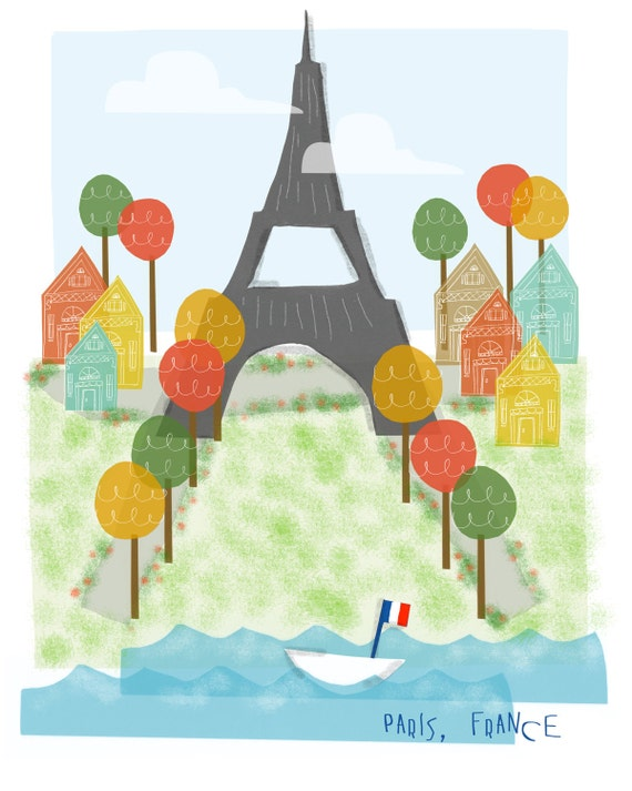 Paris France art print - 8x10 - Eiffel Tower Paris city poster illustration wall decor