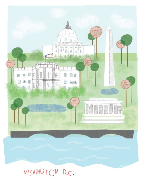 Washington DC art print illustration - 11x14 print - white house art wall decor