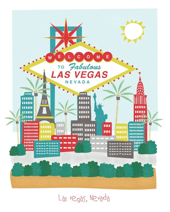Las Vegas, Nevada - 8x10 - city art illustration wall decor