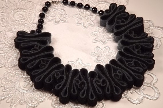 Felt Necklace, Boho Bib, Eco Recycled, Free Form Denim Black Bead Necklace, Eco Felt, Warm Collar, Fashion Jewelry, Felted