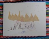 Screen Print depicting illustrated tribal mountains and huts with hand drawn details.