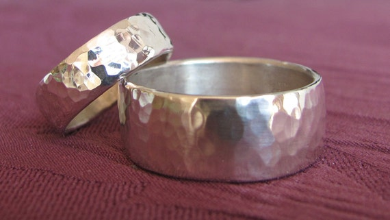 RESERVED FOR SANSANEE His & Hers Hammered Sterling Silver Wedding Bands/Price is for both bands Unique Gift