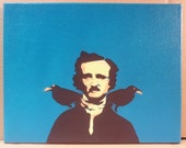 "Edgar Allan Poe - Pop Art Spray Paint Stencil - 11"" x 14"" on Canvas (blue, brown)"