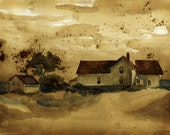 Fine Art Print- The Farm House- Watercolor and Coffee Painting-  8X10 Art Print