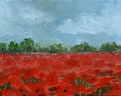 Poppy Field Landscape - Green Trees and Stormy Sky- Bright Red Poppies- ACEO Art Card Print