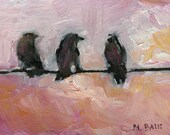 Three Birds on a Wire, Pink Skies- Oil Painting- ACEO Art Card Print