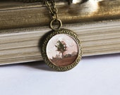 Original Hand Painted Art Necklace- Tiny Miniature Oil Landscape Painting in a Round Bronze Frame