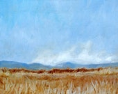 Fine Art Print- Big Blue Sky with a Golden Harvest Field- Oil Painting-  8X10 Art Print