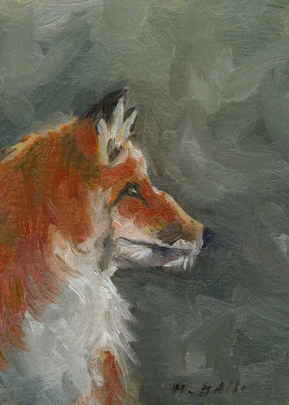 Red Fox in the Woods- Oil Painting- ACEO ATC Art Card PRINT