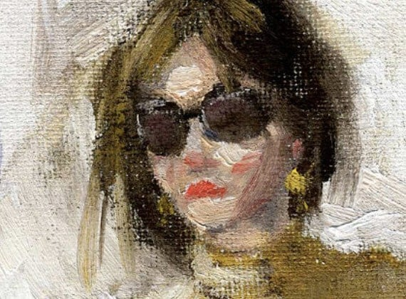 Girl With Sunglasses Beige Shirt and White Pants- ORIGINAL Oil Painting- 7.5 X 9.5 on Canvas