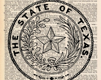 Vintage Dictionary Texas Print - State of Texas print