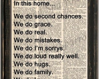 Vintage Dictionary Family Rules Print